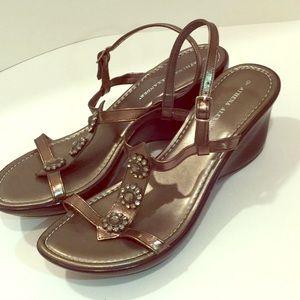 Bronze wedge jewel top sandals. Athena Alexander